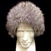 Genuine Tuscan Lamb Skin Fur Hat Gray With Brown Tip. Made Italy Photo