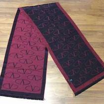 Genuine Valentino Scarf Maroon Black 100% Wool Photo