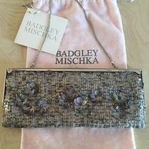 Genuine Vintage Badgley Mischka Paillette Silver Sequin Dress Clutch W/chain Photo