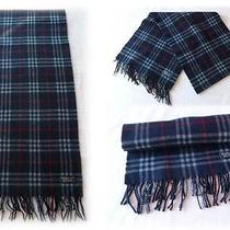 Genuine Vintage Burberry of London Lambswool Scarf Navy Nova Check Immaculate Photo