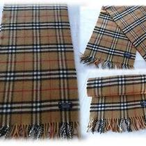 Genuine Vintage Burberry of London Lambswool Scarf Tan Nova Check Immaculate Photo