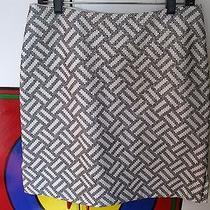 Genuine White Pearl Leather Skirtlinda Allard/ellen Tracyw/black Embroidery Photo