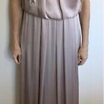 George Size 12 Blush Pink Silk Sequinned Formal Long Dress Gown Designer Photo
