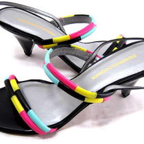 Georgina Goodman Women's Inga Sandal Black/pink/aqua/yellow Leather Size 7.5 Med Photo