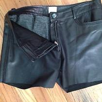 Georgio Armani Black Leather Short Shorts Vtg Photo