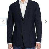 Georgio Armani Blazer Dark Blue Textured Mesh 1695 Size 58 R Photo