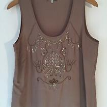 Gerard Darel 100% Silk Bronze Vest Top With Gold Beaded Detail Uk 12 Vgc 145 Photo