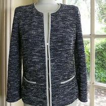 Gerard Darel Black/white/silver Thread Stretch Boucle Jacket - 40 (Uk 12) Photo