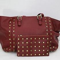Gerard Darel Burgundy Studded Leather Tote Bag & Matching Clutch Photo