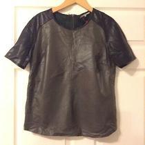 Gerard Darel Leather Top Grey/black Colour-Size 38 S/m Photo