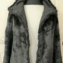 Gerard Darel Reversable Black Fake Fur Coat -Size 38 Photo