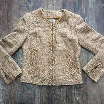 Gerard Darel Tweedy Brown Collarless Jacket - 38 - Wool Blend Photo