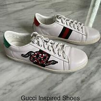 Gg Calfskin Mens Embroidered Kingsnake Ace Sneakers 9.5 Green & Red Photo