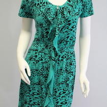 Gianni Bini Aqua Black Animal Print Short Sleeve Ruffle Zipper Shirt Dress Sz S Photo