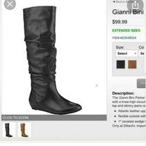 Gianni Bini Black Leather Slouch Riding Knee Boots Womens Sz 7.5 Photo