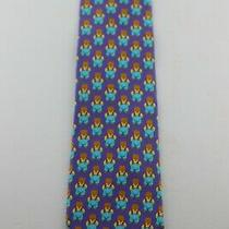 Gianni Versace  1/2 Teddy Bears 1/2 Floral Purplesmulti  57 X 4 Silk Tie  Vg Photo
