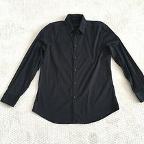 Gianni Versace Black Button Shirt Long Sleeve Italy Size 40 Neck 15.75 Photo