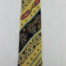 Gianni Versace  Floralabstract Goldsmulti Colored 57 X 3 3/ 4 Silk Tie  Vg Photo