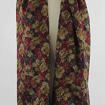 Gianni Versace Gold Red Multi Floral Print Silk Scarf Fringe Photo
