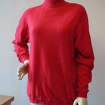 Gianni Versace Italy Bright Orange Red Cashmere Turtle Neck Sweater 48 Euc Us 14 Photo