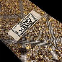 Gianni Versace Mens 100% Silk Power Tie Gold Red Bronze Euc Photo