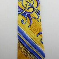 Gianni Versace Scrollworkstripes Goldspurplesblues 58 X 3 5/8 Silk Tie  Vg Photo