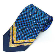 Gianni Versace Tie Navy Royal Blue & Gold Chevron Silk Necktie 175 Retail New Photo