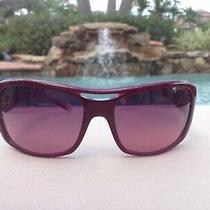 Gianni Versace Versus Womens Shield Sunglasses Red Burgundy Logo 120 Temple New Photo