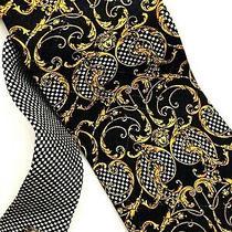 Gianni Versace Vintage '90s Baroque Medusa Spiral Tie Gold Black Check Italy Photo