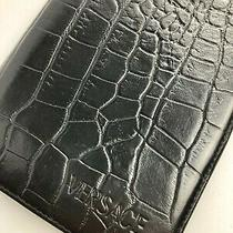 Gianni Versace Vintage '90s Crocodile Embossed Leather Logo Wallet Bifold Italy Photo