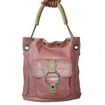 Gianni Versace Vintage Pink Croc Embossed Leather Tote Bag Photo