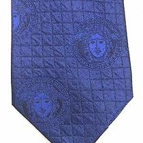 Gianni Versace Vintage Silk Tie 1990s Blue Medusa Faces Rare New Photo