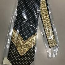 Gianni Versace Vintage Silk Tie 1990s Gold and Blue Rare New Photo