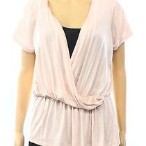 Gibson New Solid Pink Blush Women's Size Large L Faux Wrap Blouse 48 Deal Photo