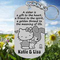 Gift to the Heart Hello Kitty Sisters Keychain Gift With Names Personalized Photo