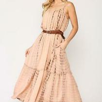 Gigio Rose Blush Tie Dye Rayon Gauze Maxi Dress Photo