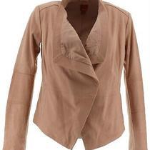 Gili Open Front Tonal Printed Leather Jacket Pocket Long Slv Blush 2  A268395 Photo