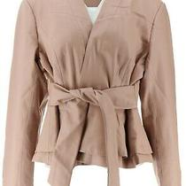 Gili Tie Front Faux Leather Jacket Blush 10 New A293038 Photo