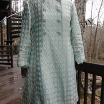 Gino Charles Designer Vintage Circa 50's Aqua & Gold Dress & Coat Suit Set  S/m Photo