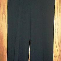 Giorgio Armani 1295 Black Smooth Wool Ribbon Waist Wide Leg Cropped Pants 48 Photo
