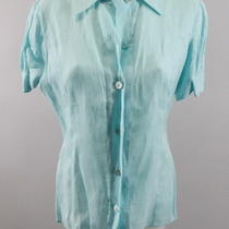 Giorgio Armani Aqua Blue Linen Button Down Short Sleeve Blouse Sz Eur 44 Photo