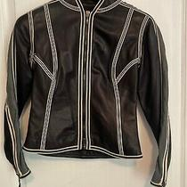 Giorgio Armani Borgo 21 Black Leather Jacket Womens 38 Photo