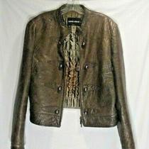 Giorgio Armani Borgo 21 Woman's Brown Lamb Skin Silk Lined Bomber Style Jacket Photo