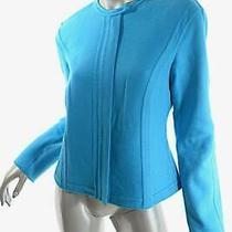 Giorgio Armani Bright Turquoise Cashmere Flannel Unlined Hidden Zip Jacket  Sz M Photo