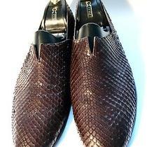 Giorgio Armani Brown Python Leather Shoes Loafers Size 43 Uk-9 Us-10 Photo