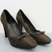 Giorgio Armani Brown Suede Belt Pumps Heels Size 38.5 Made in Italy Photo