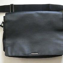 Giorgio Armani Calfskin Full Size Leather Messenger Bag Black Photo