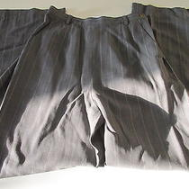 Giorgio Armani Charcoal Grey Cream Pinstripe 100% Wool Dress Pants Sz 38 F935  Photo