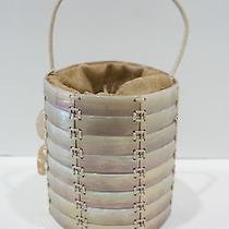Giorgio Armani Circular Iridescent Mother of Pearl Drawstring Handbag 1400 Euc Photo
