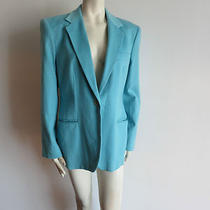 Giorgio Armani Classico Women Jacket Size 14 Aqua Blue Cashmere Photo
